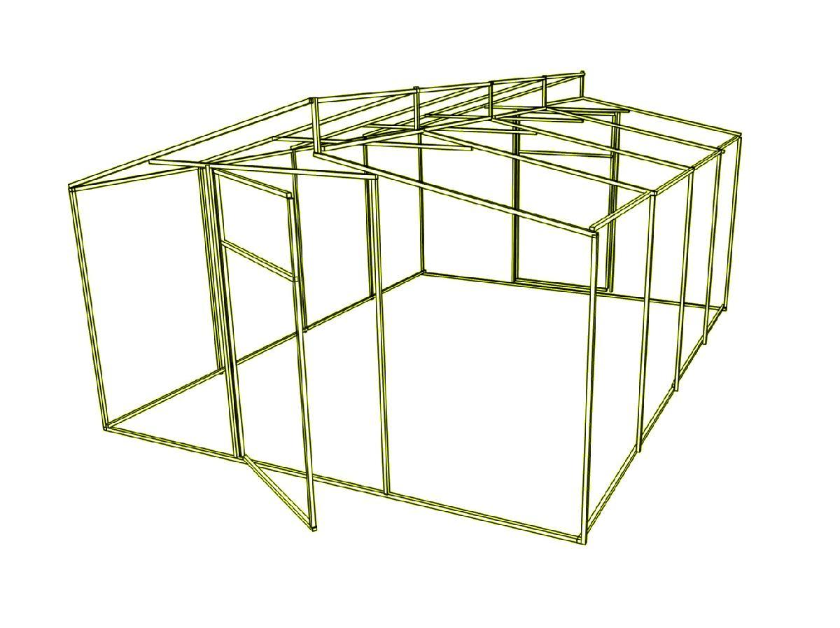 Дод. секція на каркас теплиці Мітлайдера (без полікарбонату) 500x200x250см
